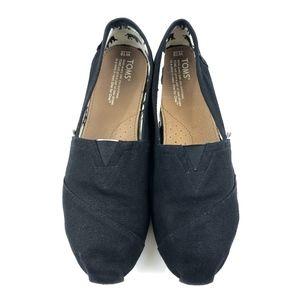 Toms Black Canvas Slip On Shoes Women's Size 10
